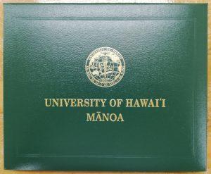 ハワイ大学解剖実習終了証表紙